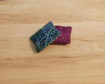 Hot or Cold pack set of 2 - unique handwarmer - reusable microwavable rice bag - pocket warmer - boo boo bag - rice pack - purple vine batik