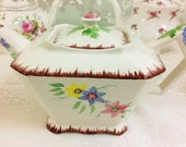 Art Deco Hand Painted Floral Teapot, Old Foley