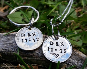 His and hers 10 Year anniversary gift for men, 10th anniversary set, 10 year matching couples set, Comes in set of 2 ,  initials and date