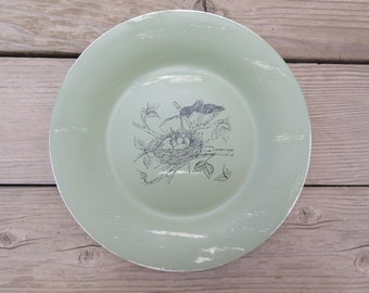 Shabby Chic Bird Sage Green Home Decor Plate W/Mama Bird/Baby Bird Nest Country Home