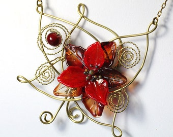 Christmas Pendant Necklace Red Poinsettia, wire wrap, lampwork, brass, sra