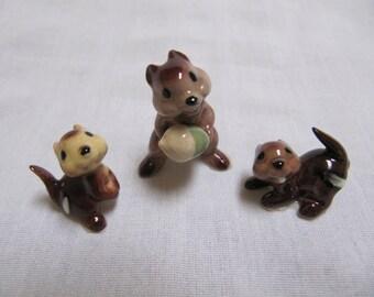 Vintage Hagen Renaker Chipmunk Group of 3