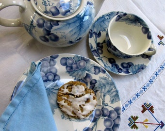 Tea Set, 7 Pc, English Earthenware, Barratts, Blue and White