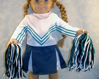 18 Inch Doll Clothes - Teal Green Cheerleader Costume made by Jane Ellen to fit 18 inch dolls