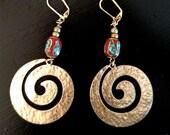 Spiral Earrings, Large Hoop Earrings, Large Hoop Earrings, Boho Hoop Earrings, GemstoneJewelrybyVal