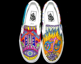 CUSTOMIZED VANS SNEAKERS! One of a kind! Wearable art!