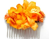 Bright Orange Mixed Rose Floral Clip Hair Comb Striking Flower Accessory