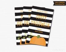 Pumpkin Halloween Tags Black Stripes Printable Halloween Labels Halloween Birthday Tags Halloween Favor Tag Pumpkin Tags Stickers Customized