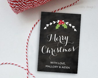 Merry Christmas Tags Printable Personalized Chalkboard Holiday Tags Christmas Gift Tags Holiday Labels Christmas Label Favor Tags Digital