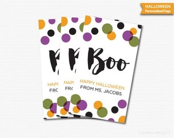 Printable Kids Halloween Tags Polka Dots Personalized Tags Halloween Labels Halloween Favors Halloween Gifts Stickers