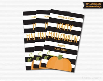 Pumpkin Halloween Tags Black Stripes Printable Halloween Labels Halloween Birthday Tags Halloween Favor Tag Pumpkin Tags Stickers Customized
