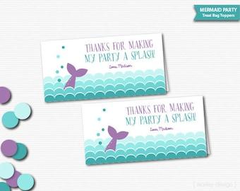 Mermaid Party Treat Bag Toppers Mermaid Favors Printable Mermaid Party Favor Mermaid Thank You Girls Birthday Splash Pool Party Toppers