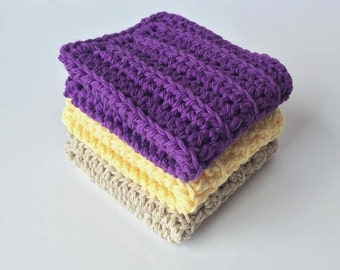 Cotton crochet wash cloths - wash cloth kitchen dish towel - kitchen wash cloths - kids wash cloths - baby cloths - spa cloths - washcloth