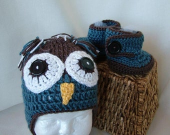 Crochet Owl Hat with Matching Ugg Boots in Brown and Blue