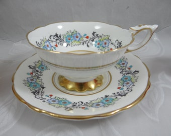 Outstanding 1950s Vintage Royal Stafford Hand Painted English Bone China Teacup English Teacup and Saucer - Gorgeous English Tea cup