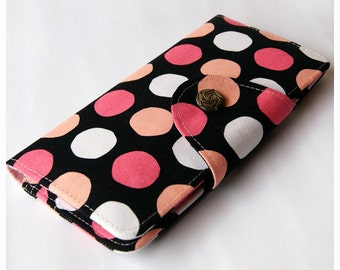 Womens Bifold Wallet, Fabric BiFold Wallet Clutch - Colorful Dots