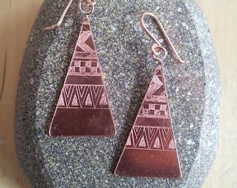 Aztec Etched Drop Earrings