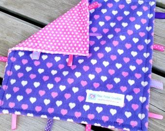 Personalized Taggie Blanket, Baby Lovie, Minky Lovey, Baby Girl Shower Gift, Sensory Toy, Crinkle Ribbon, Pink Purple Hearts Nursery Decor