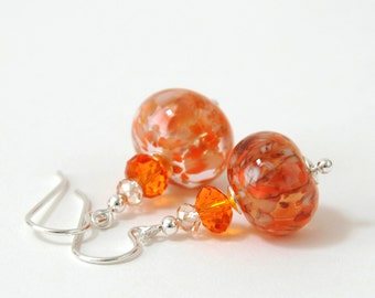 Orange Marmalade Lampwork Earrings - Artisan Lampwork Glass Earrings with Tangerine Crystal and Sterling Silver Earwires - Handmade Jewelry