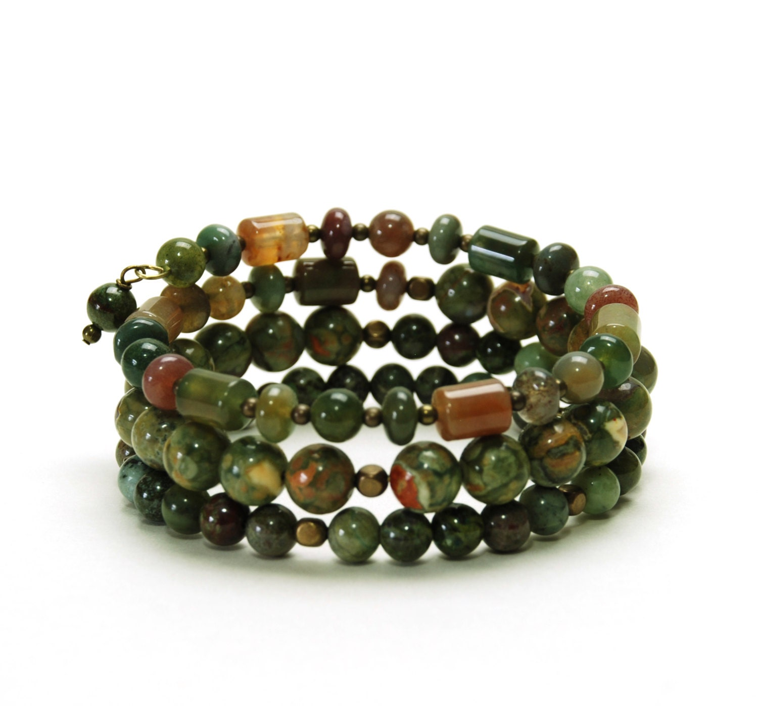 olive green layered gemstone memory wire bracelet