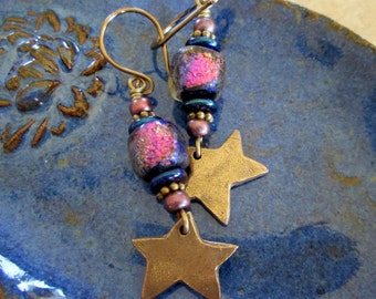 Star Lights - Bronze Stars and Basha Bead Earrings, Etched Lampwork, Artisan, Boho, Iridescent Glass, Valentines Day Gift, hiddenfirepottery