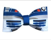 R2D2 Droid Inspired Star Wars Hair Bow or Bow Tie Geeky Fabric Bow