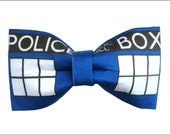 TARDIS Police Box Hair Bow or Bow Tie Inspired Doctor Who Geeky Fabric Bow