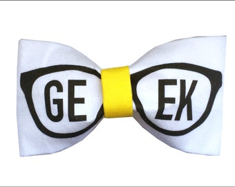 Geek Glasses Inspired Hair Bow or Bow Tie Geek With Me Fabric Bow