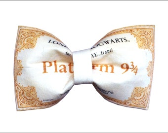 Platform 9 3/4 Hogwarts Express Ticket Inspired Hair Bow or Bow Tie Harry Potter Geeky Fabric Bow