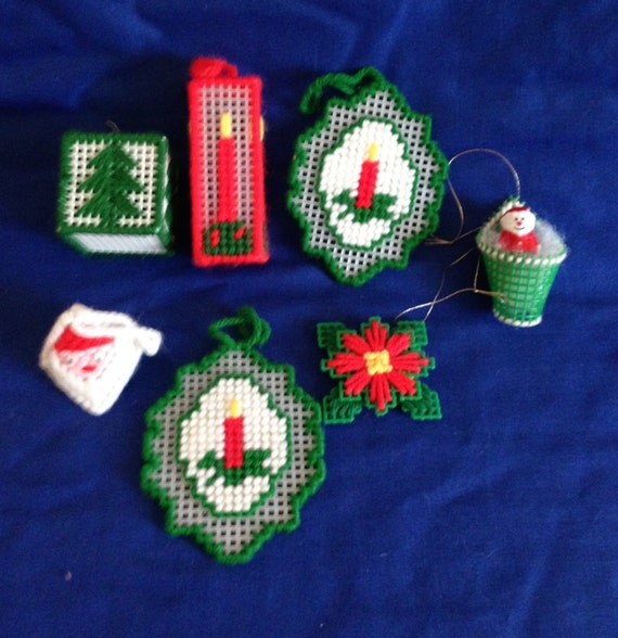 set of 7 plastic canvas christmas tree ornaments candle santa