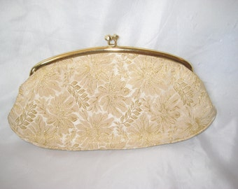 Gold lame and cream clutch, evening formal clutch, party brides clutch, New Yers eve clutch, Kadin made for Avon, 60s 1960s clutch