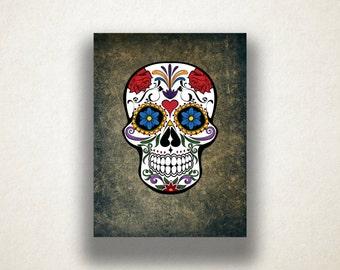 Colorful Skull Canvas Art Print, Sugar Skull Wall Art, Skull Canvas Print, Artistic Wall Art, Canvas Art, Canvas Print, Home Art, Wall Art