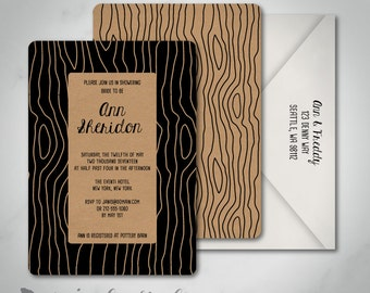 Newton Faux Bois Woodgrain Rustic | Bridal Shower Invitation | Custom | Printed | Printable Digital Download | Wedding Shower Invitation