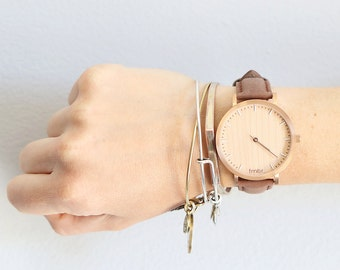 Womans Wood Watch, Cherry Wood Rose Gold Watch, Brown Leather Strap - HELM-CR