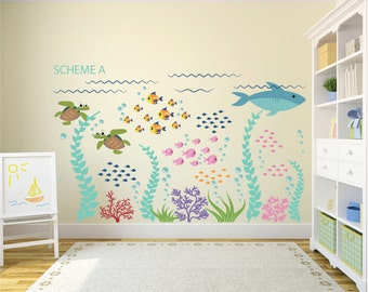 Ocean Decal   Ocean Wall Decals   Fish Decal   Removable Wall Decals   Kids  Wall