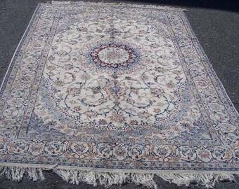 1980s Hand-Knotted Wool & Silk Nain Persian Rug (3177)