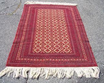 1980s Afghani Bokara Hand-Knotted Rug (3179)