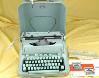 EXC 1963 HERMES 3000  Refurbished Green  Portable Typewriter W/ WARRANTY //