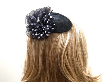 Polka Dot Fascinator, Polka Dot Kippah, Black and White Hat, Fascinator Kippah