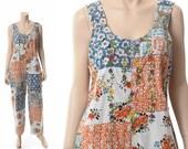 Vintage 70s 80s India Embroidered Bib Overalls 1970s 1980s Patchwork Floral Indian Cotton Hippie Romper Gypsy Grunge Jumpsuit / Medium