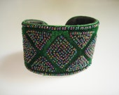Vintage Cuff Bracelet Green Velvet Beaded