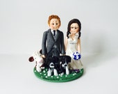 Personalised Vet bride and Farmer groom with cow and dogs - Farm themed wedding cake topper