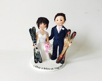 Personalised Bride & Groom Skiing Skating with ski board  skateboard wedding cake topper - Customised skiing couple cake topper