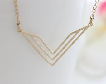 Chevron necklace - gold necklace with a chevron pendant, Christmas gift
