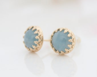 Aquamarine earrings - Gold post earrings set with aquamarine gemstones, March birthstone, Birthstone earrings