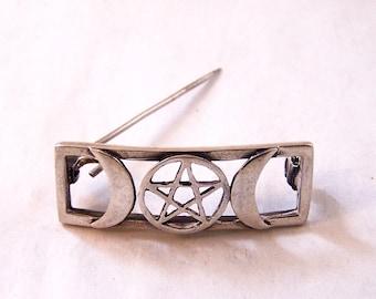 Vintage Silver Moon and Star Brooch, Sterling Silver Brooch, Rectangle Brooch