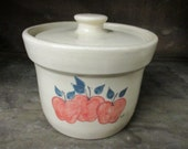 Paul Storie Pottery Cheese Crock Country Apples Signed Marshall Texas