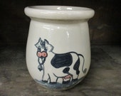 Paul Storie Pottery Stoneware Crock Spoon Jar Country Cow Marshall Texas