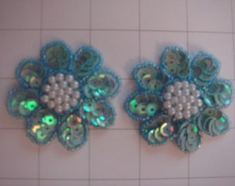 "2.25"" Light Blue Flower Applique Set of 2 Pearl Beaded Center (A-61)"