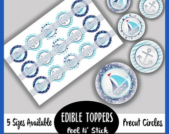 ON SALE PreCut Edible Icing Image Mini Cupcake Cookie Party Toppers Its a Boy Birthday Baby Shower Sailboats Anchor Whale Nautical Sealife